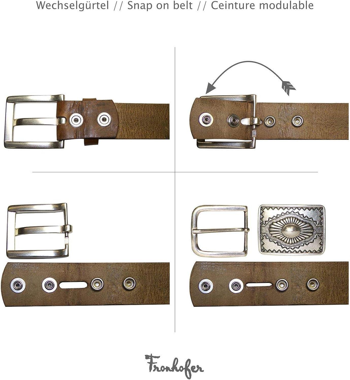 18067 boucle western femme et homme 4 cm Fronhofer Boucle de ceinture /à t/ête de buffle dans un coloris argent vieilli Longhorn Buckle