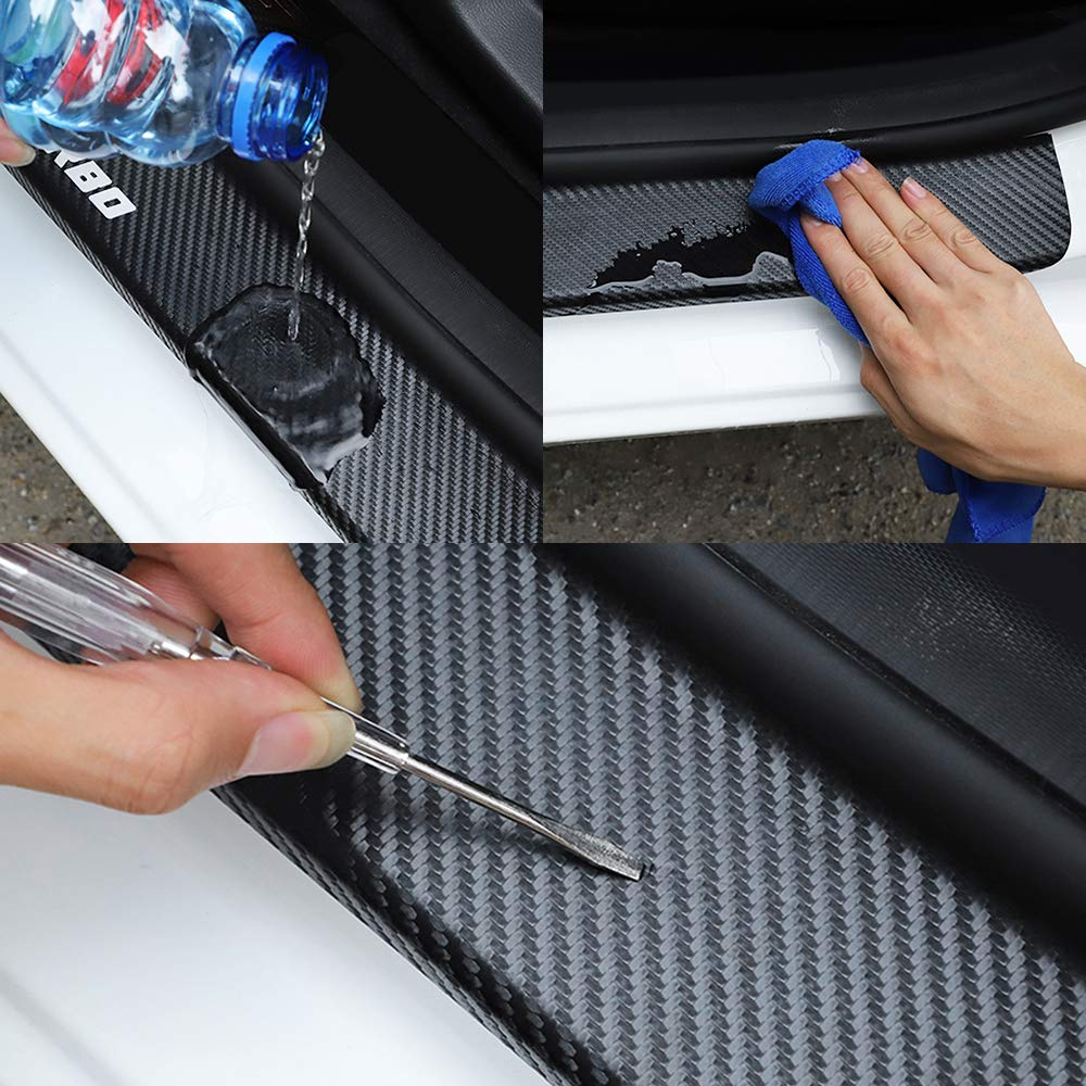 XHULIWQ 4PCS//Set Car Door Sill Scuff Plate Guard Carbon Fiber Protector Stickers Auto Door Threshold Decor Accessories,For Ford Ecosport