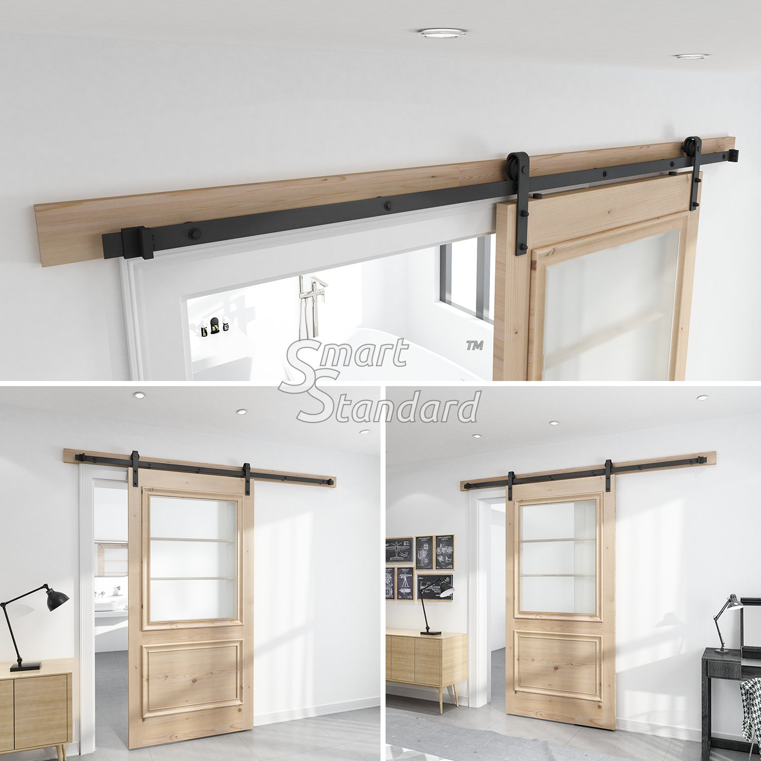 SMARTSTANDARD SDH-0080-STANDARD-BK Heavy Duty Sturdy Sliding Barn Door Hardware Kit, 8' SingleRail,Super Smoothly and Quietly, Simple and Easy to Install, Fit 42-48'' Wide DoorPanel by SMARTSTANDARD (Image #1)