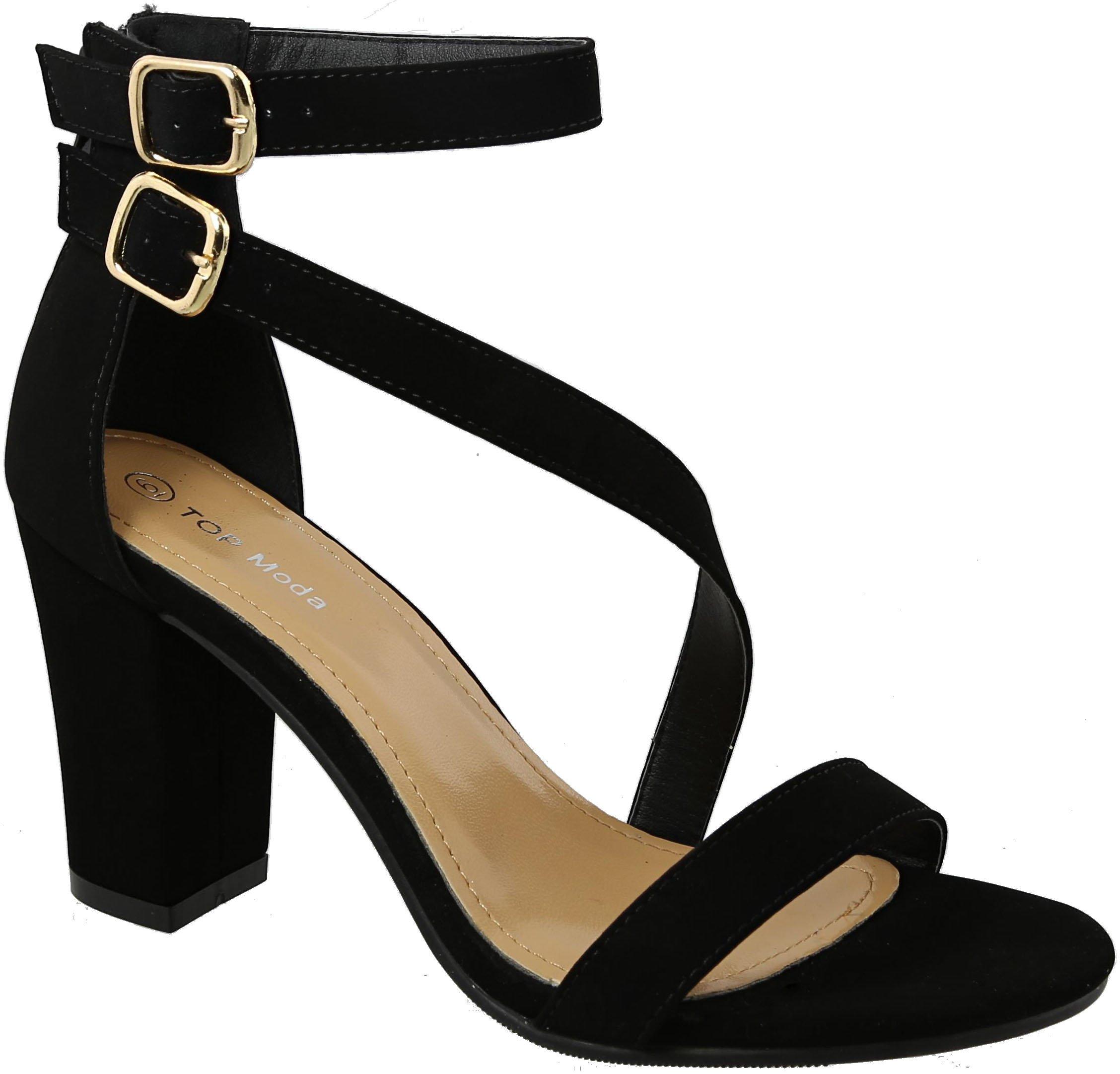 Top Moda Helen-7 Open Toe Strap Heel Sandals (5, Black)