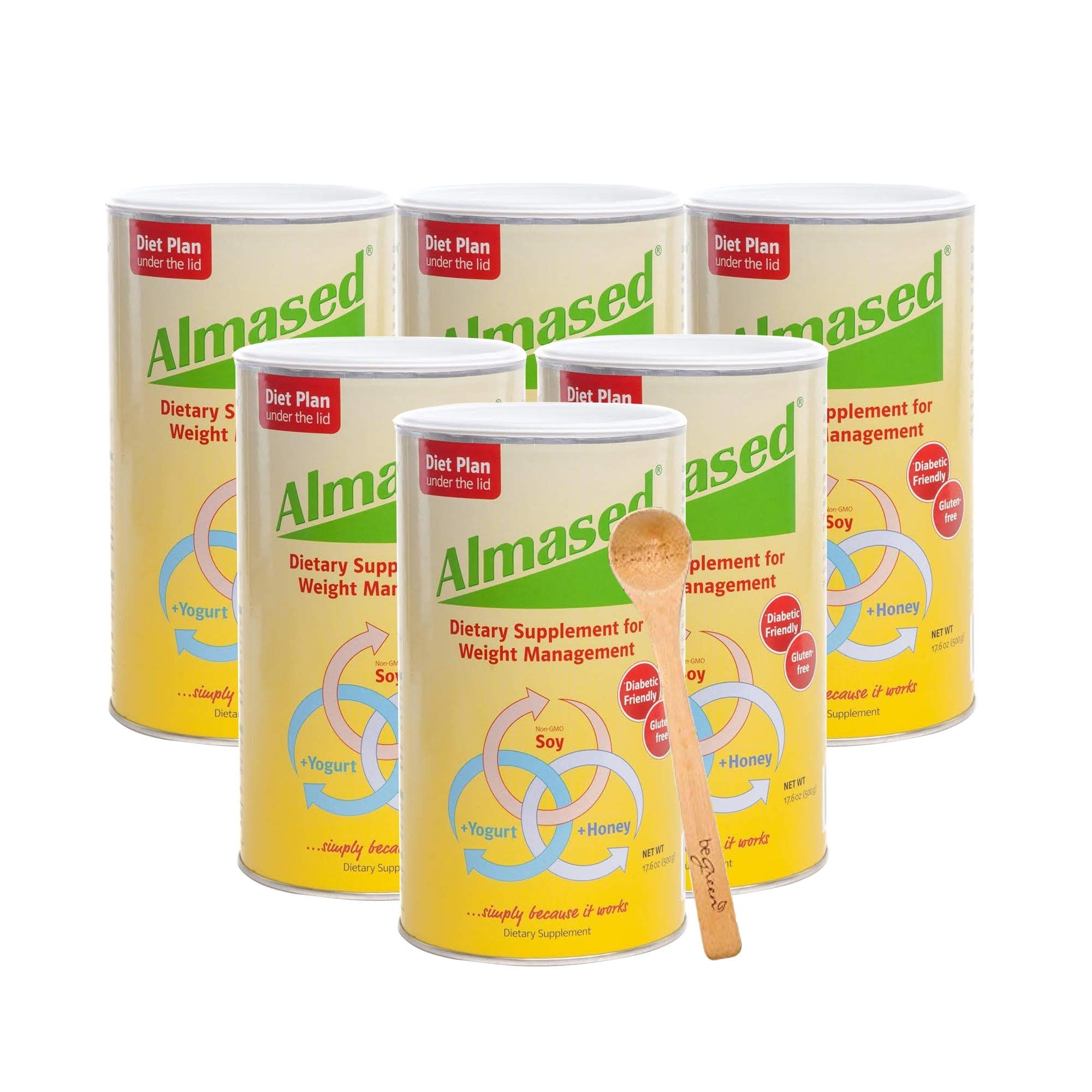 Almased Meal Replacement Shake (6 Pack) with Bonus Bamboo Spoon - 17.6 oz Powder - High Protein Weight Loss Drink, Fat Metabolism Booster - Vegetarian, Gluten Free - 60 Total Servings by Almased (Image #1)