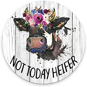 Smooffly Funny Quote Mouse Pad, Not Today Heifer,Office Desk Accessories, Cow Gifts for Her, Office Decor, Cow Round Mousepad, Quote Mouse Pad, Desk Decor