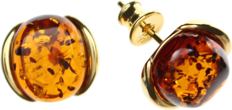 Pendientes Natural ámbar de Arti Sana–, elegante Pendientes 925/000Plata de ley dorado