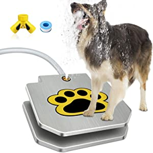 Dog Water Fountain, Dog Sprinkler Step On, Dog Fountain Paw Activated Stainless Steel, Y Splitter Included, 2021 Upgrade, by TUOKEOGO