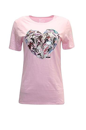 c1569527cc9c Amazon.com  Nike Women s Heart Shaped Sneaker Graphic Tee-Shirt Pink ...