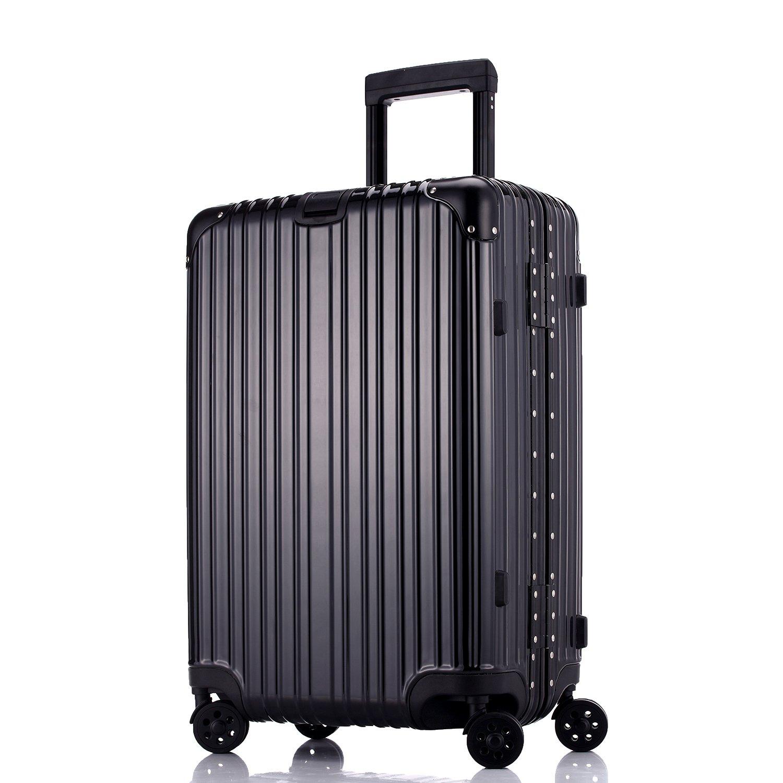 スーツケース 軽量 キャリーケース TSAロック【1年修理保証】 静音 鏡面仕上げ おしゃれ アルミフレーム 丈夫 キャリーバッグ S型 機内持込可 B07PVPR1GC ブラック XXL (29)型