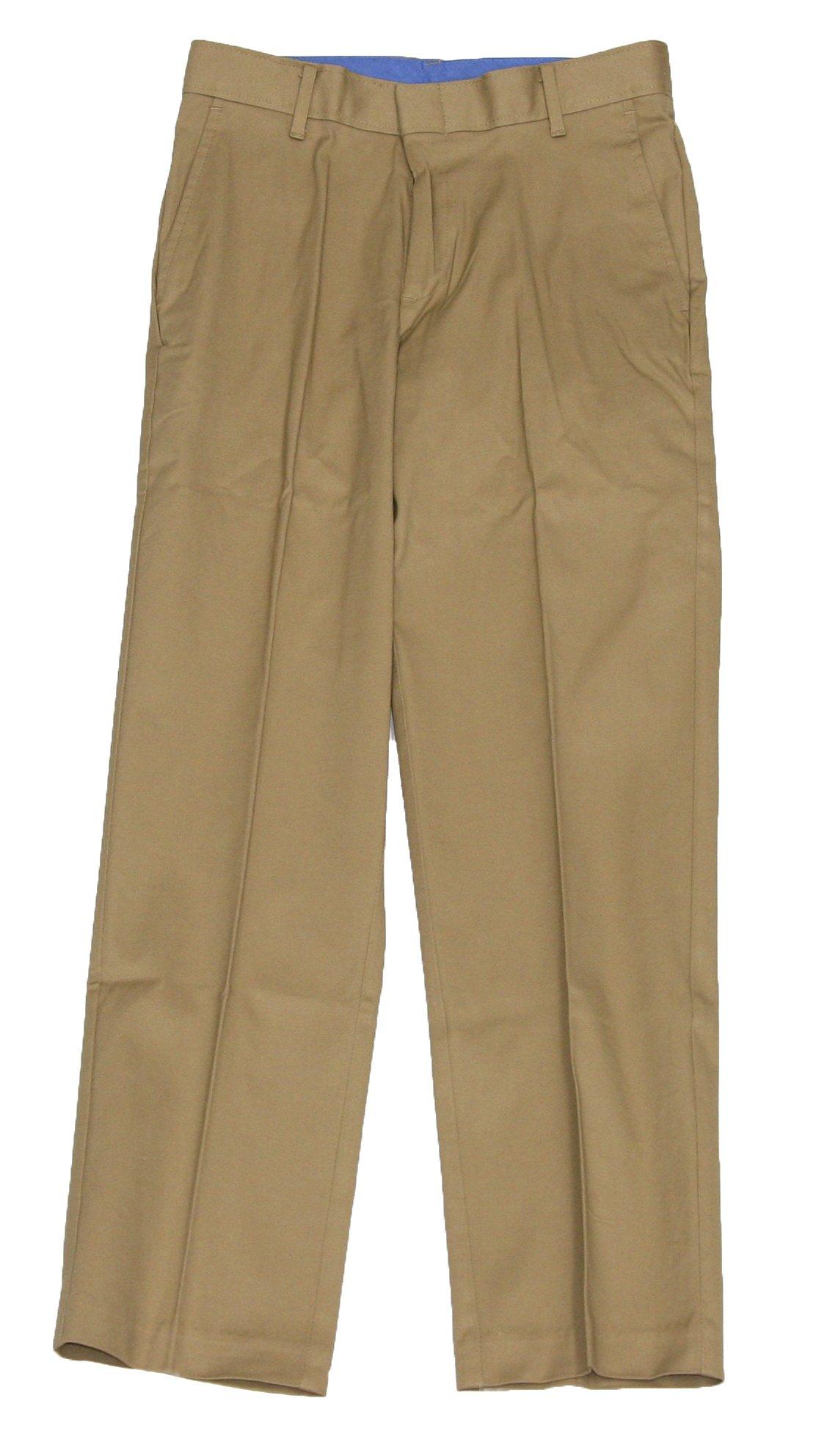 IZOD Big Boys' Solid Fine Line Pant (Khaki, 12)