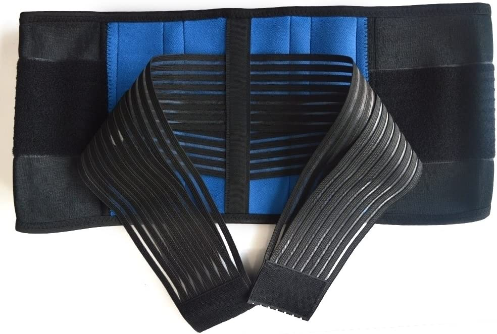 2 PCS Double Pull Posture Support Brace (M(28-32 inches) or (72-81 cm), Black&Blue) and Breathable Lumbar Brace(M, Black) By Aofit 71xjEKvlKhL