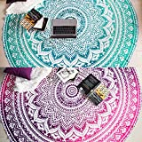 Set of 2 Ombre Mandala Round Tapestry Hippie Indian Mandala Roundie Picnic Table Cover Hippy Spread Boho Gypsy Cotton Tablecloth Beach Towel Meditation Round Yoga Mat - 72 Inches, Green and Pink