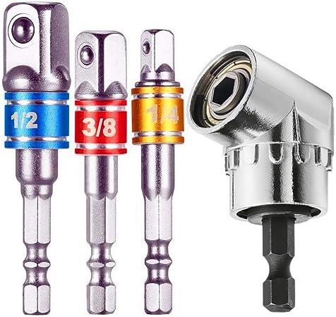 Newder-eu Lot de 3 adaptateurs de douille pour tournevis hexagonale 1//4 vers prise carr/ée