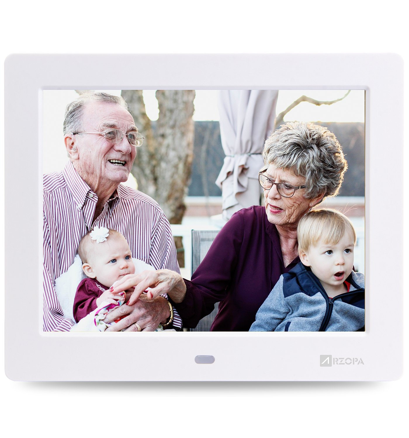Arzopa 8 Inch Digital Photo Frame HD IPS Widescreen Picture Frame Support MP3 MP4 Video Player with Calendar Function and Remote Control White by Arzopa