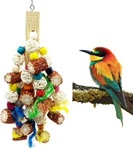 Deloky Bird Block Knots Tearing Toy -Natural Corn Cob Parrot Chewing Toy Suggested for Macaws Cokatoos,Parakeets, Conures, African Grey and a Variety of Amazon Parrots