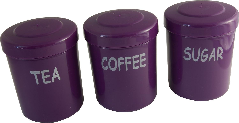 Plum Plastic Tea Coffee Sugar Storage Canisters Jars Pots