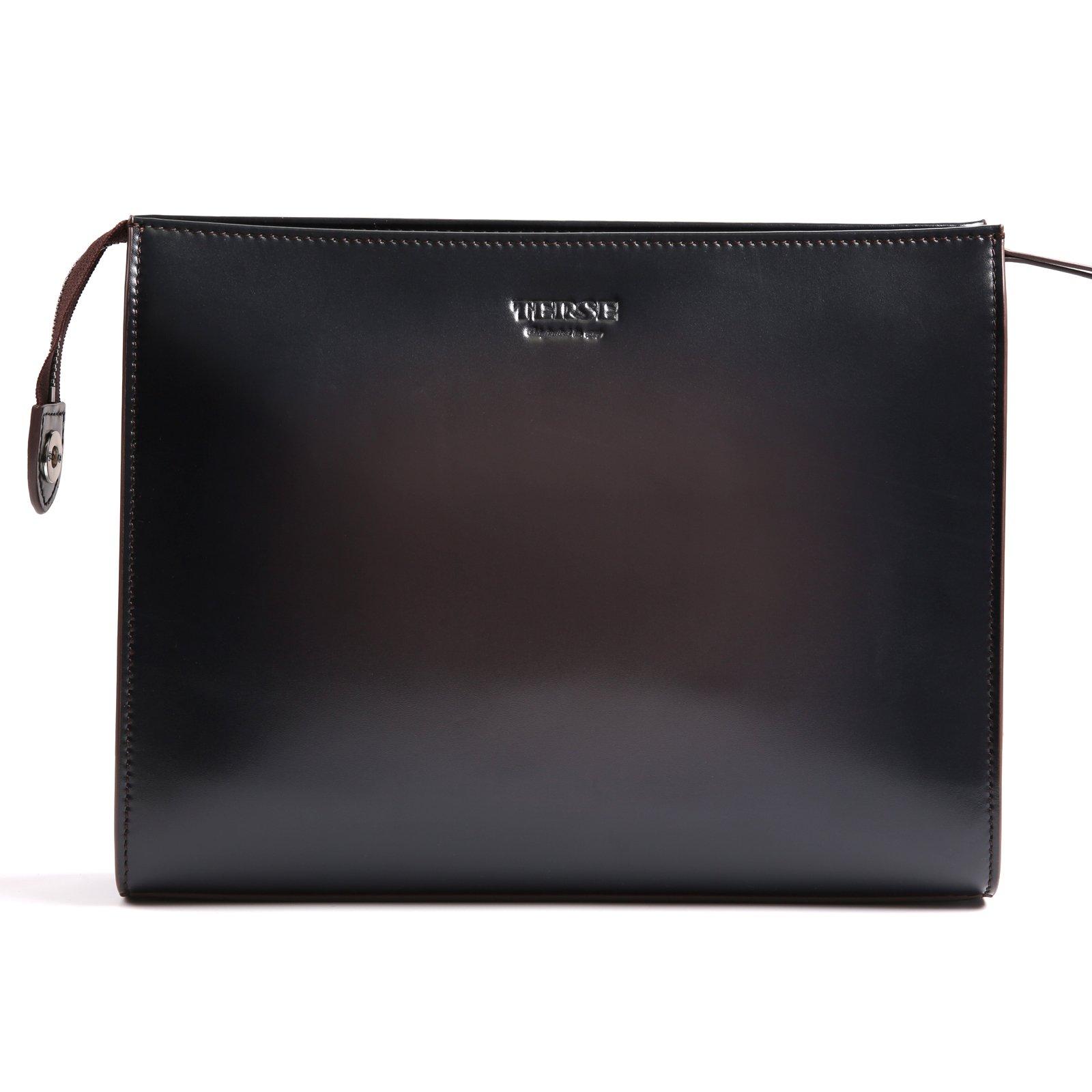 TERSE Genuine Leather Clutch Bag Handmade Card Cash Holder Business Handbag Zipper Wallets Manual Brush-off(Iron Grey) TS601A