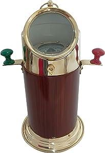 Vintage Wooden & Brass Binnacle Compass Antique Navigation Device Nautical Desktop Collectible