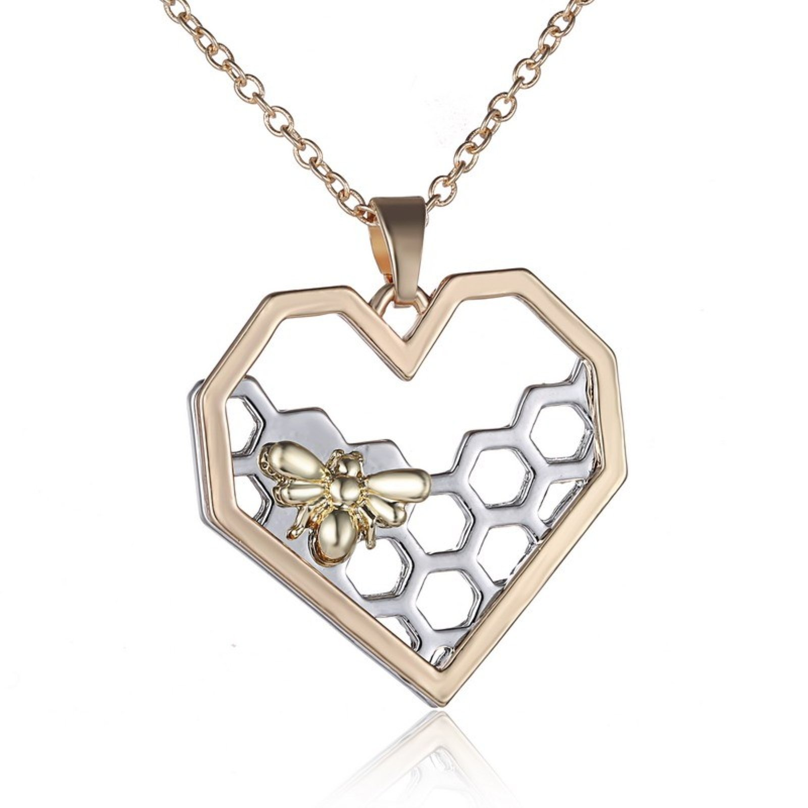 ptk12 Fashion Jewelry Rose Gold Silver gold color Heart Love Pendant Necklace Women Animal