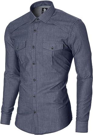 MODERNO – Camisas para hombre – Camisa de vestir – Camisa casual – Slim Fit – Manga larga – Camisa de 2 bolsillos (MOD1446LS) Azul azul S: Amazon.es: Ropa y accesorios