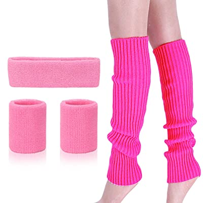 Womens 80s Neon Running Headband Wristbands Knit Leg Warmers Sports Set, Hot Pink, One Size: Clothing