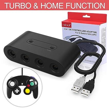 HEYSTOP Adapter für Gamecube Controller, NGC Controller Adapter für Switch/Wii U/PC,Turbo und Home-Tasten, USB Plug & Play, 4