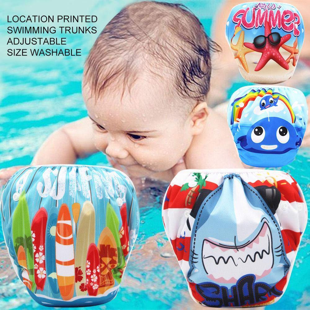 8-36lbs Womdee 2pcs reusable swim diaper Newborn Swimming Nappy Pool Beach Swimwear Underwear Pant Diaper Cover for 0-3T Infant Boy Girl