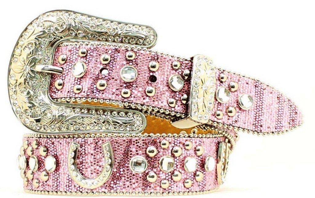 Nocona Girl's Horseshoe Conchos Belt, Pink, 20