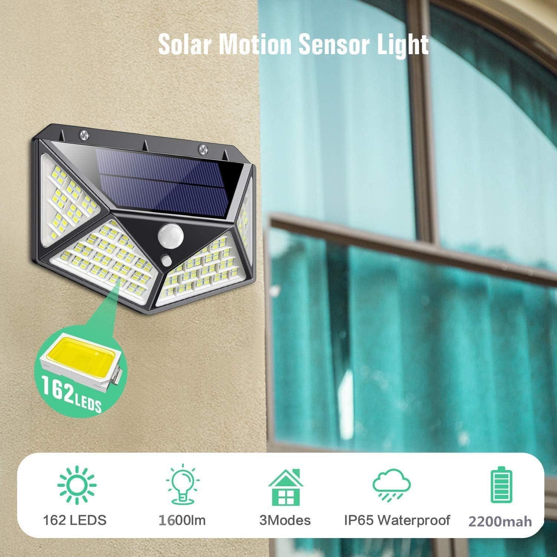 Luz Solar Exterior 162 LED, QTshine【2020 Última versión】Foco ...