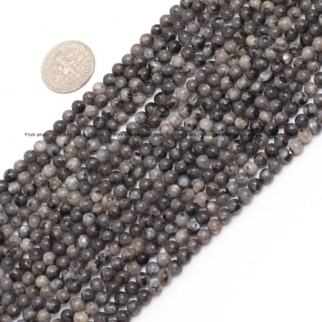 4mm Round Gemstone Black Larvikite Beads Strand 15 Inches Jewelry Making Beads