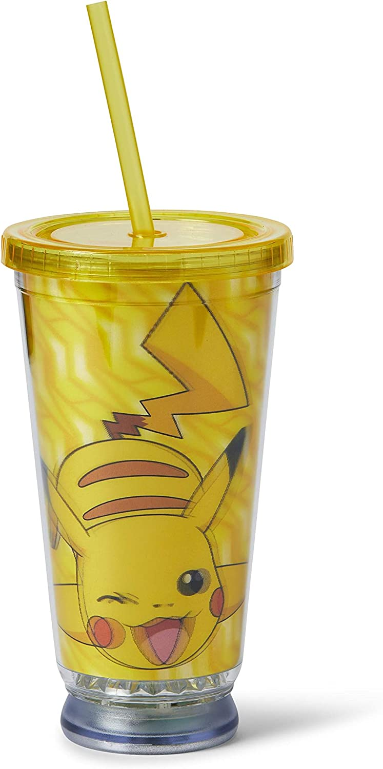 JUST FUNKY Pokemon Pikachu Carnival Cup - 18oz BPA-Free LED Light Up Tumbler - Your to-Go Cup Great for Travel, Picnic, Office & Home Use - Comes with Reusable Straw & Removable Lid