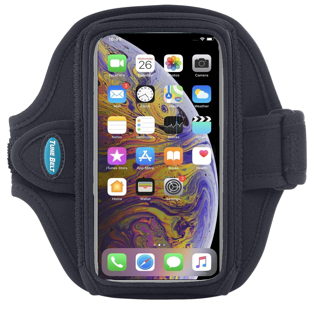 Armband Compatible with OtterBox Commuter for iPhone 8 7 6s 6; and iPhone X Xs with Slim-Med Case - for Running & Working Out - Sweat-Resistant [Black] by Tune Belt