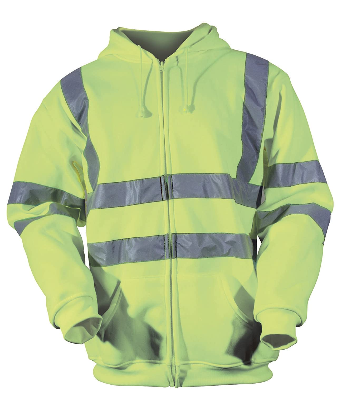 Hi Vis Visibility Safety Work Hoodie Hooded Sweatshirt Reflective Top Security
