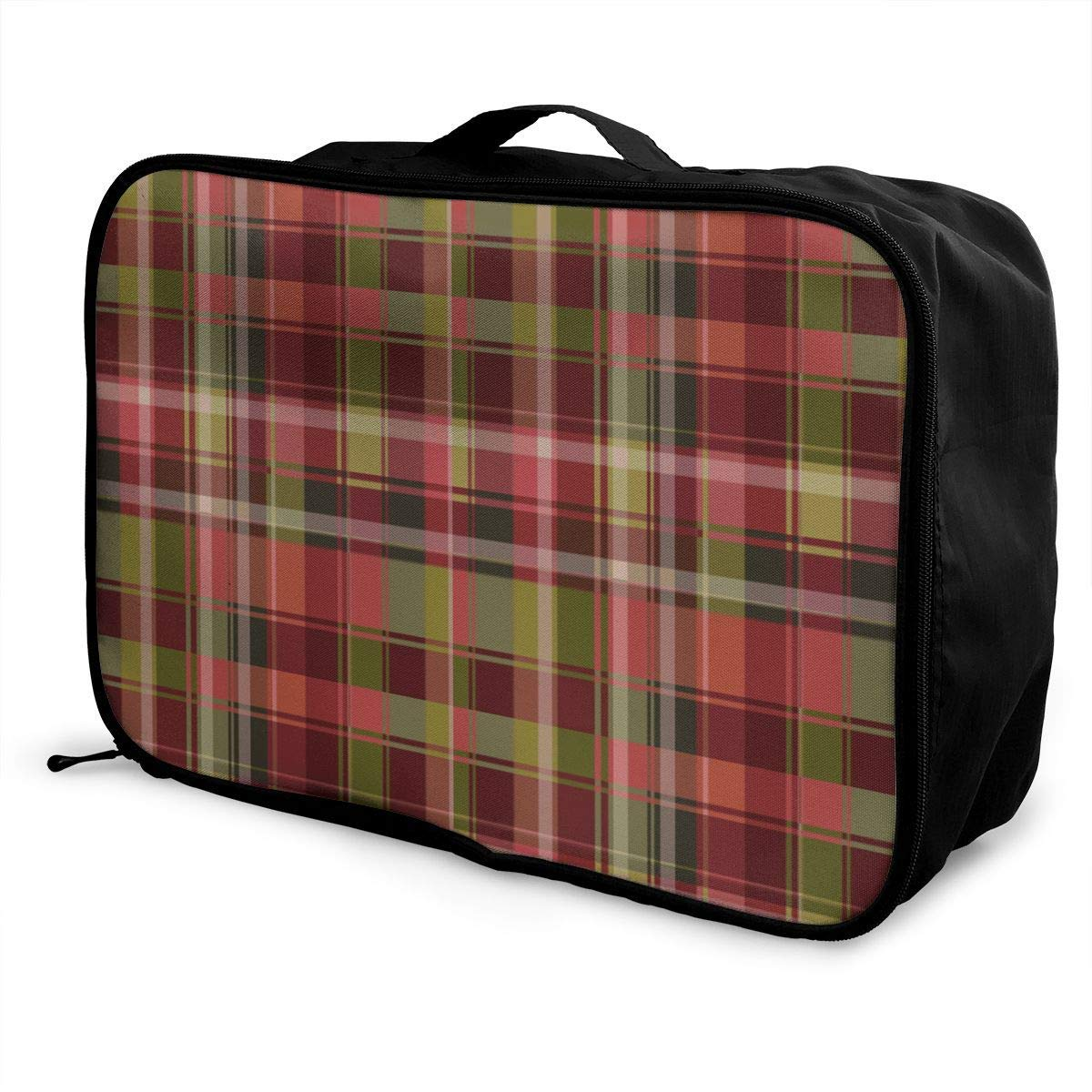 Portable Luggage Duffel Bag Tartan Pink Plaid Travel Bags Carry-on In Trolley Handle