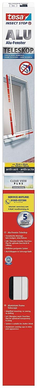 tesa Insect Stop ALU TELESKOP Fliegengitter f/ür Fenster Verstellbarer Insektenschutz mit Rahmen aus Aluminium wei/ß 70-120 cm /& 80-140 cm