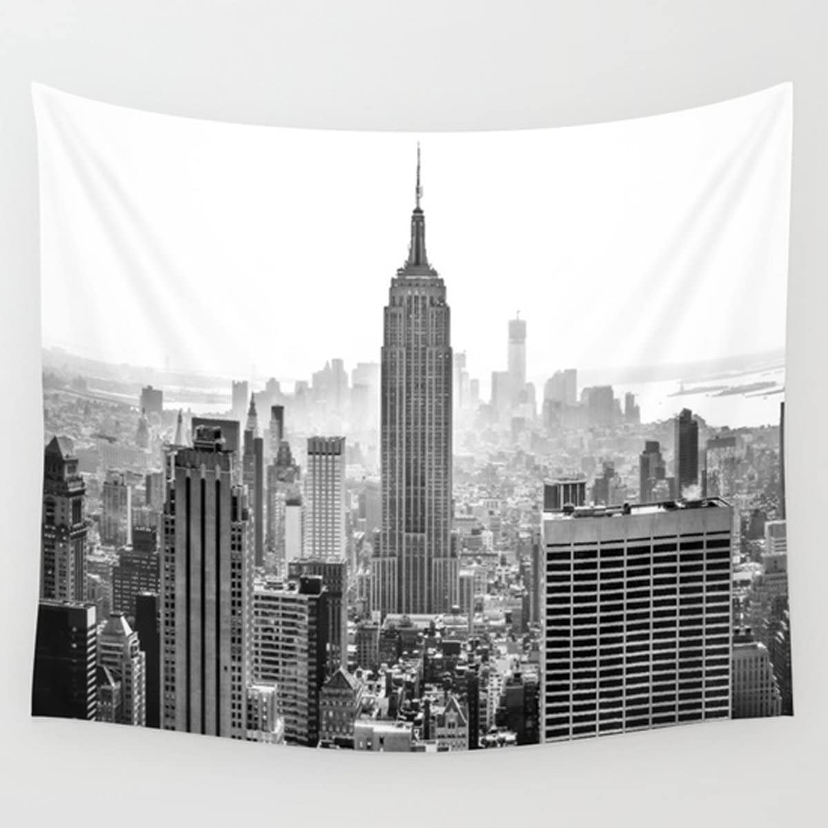 "Shukqueen Black and Gray Modern City New York City High Buliding Image, Wall Hanging for Bedroom Living Room Dorm (51"" H x 60"" W, Modern City)"