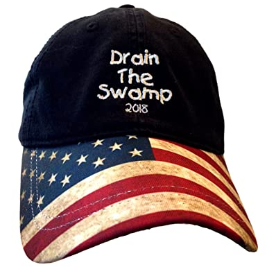USA Flag Bill Drain The Swamp Hat For Trump Supporters At Amazon - Deplorable trump supporters hats with us map of red states