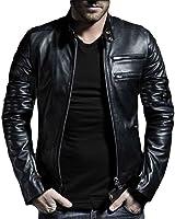 V4M Men's CS New Black Lamb Skin Genuine Real Leather Jacket