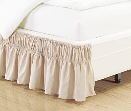 Wrap Around Style Beige Ruffled Solid Bed Skirt Fits Both Queen And King  Size Bedding 100