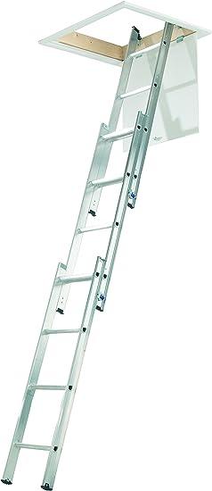Escalera compacta de 3 secciones, de Abru, 37000, de aluminio, para desván, peldaños cómodos incluidos150 kg capacidad de carga, certificado de seguridad EN14975.: Amazon.es: Bricolaje y herramientas