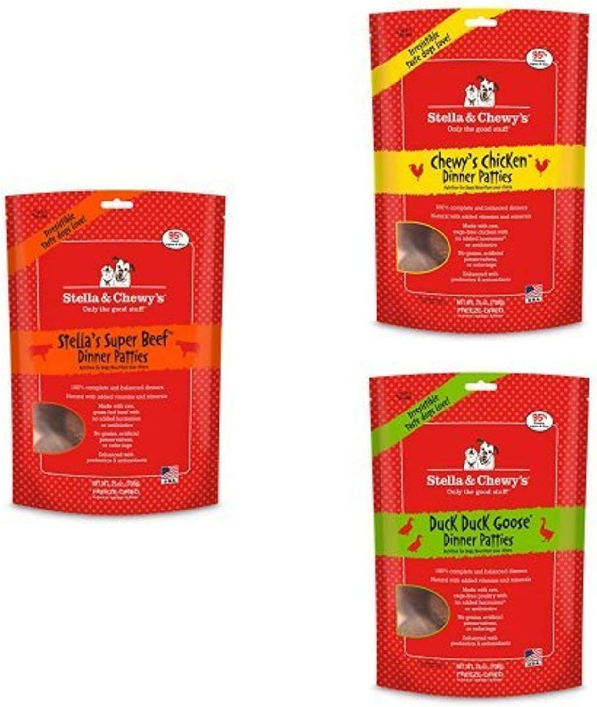 Stella & Chewy'S Freeze-Dried Raw Dinner Patties Dog Food Variety Pack Of 3 (Beef, Chicken And Duck), 25 Oz. Each