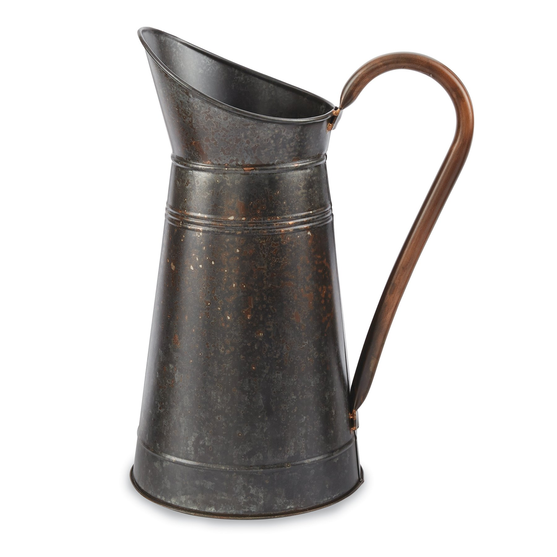 Mud Pie Galvanized Tin Decorative Pitcher, Medium