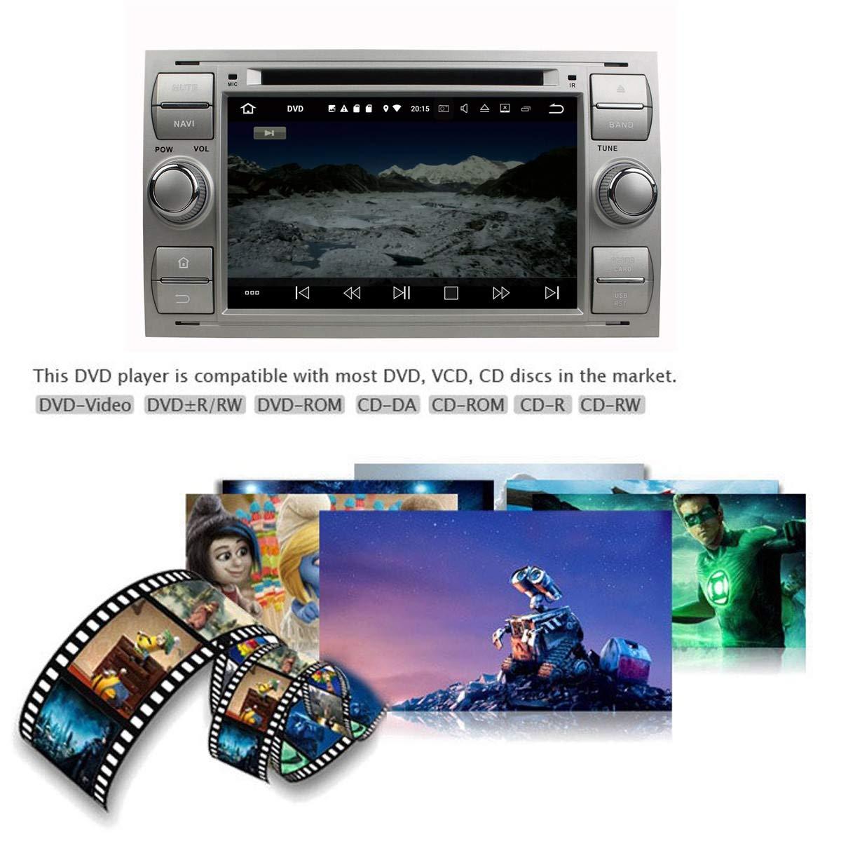 (Plateado) 7 Pulgadas 2 DIN Coche Radio Android 8.1 OS para Ford ...