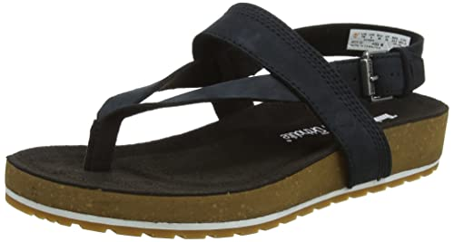 ec0b33fb1 Timberland Women's Malibu Waves Ankle Strap Flip Flops, Black Nubuck 011  3.5 UK