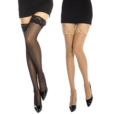 2 pares de medias especial para mujeres, con encajes: Ropa y accesorios