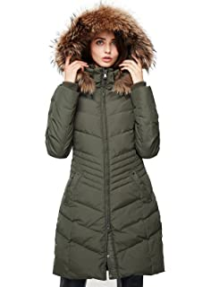 a2d9570a8b0b6a Escalier Women's Down Jacket Winter Long Parka Coat with Raccoon Fur Hooded
