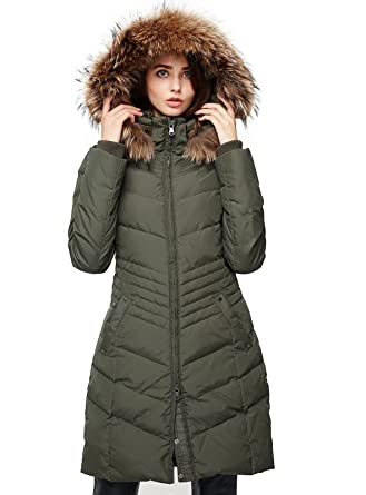 c54a39d979d Escalier Women's Down Jacket Winter Long Parka Coat with Raccoon Fur Hooded  Army Green S