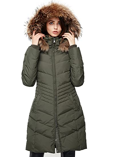 Escalier Womens Down Jacket Winter Long Parka Coat With Racfur Hooded Army Green S