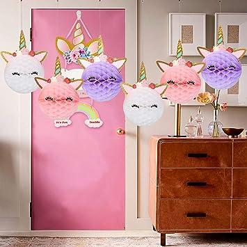 Sayala Unicornio Decoración de cumpleaños para niña,6Pieza Rosa púrpura Blanco Enorme Papel para Niña Pequeña Fiesta de Cumpleaños de Dama de Niño