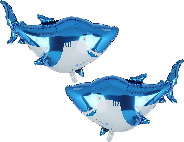 Large Shark Splash Balloons Set for Birthday Party Decorations, 2 Giant Shark Foil Mylar Balloons Shark Party Decorations Shark Mylar Balloons Birthday for Birthday Party Supplies