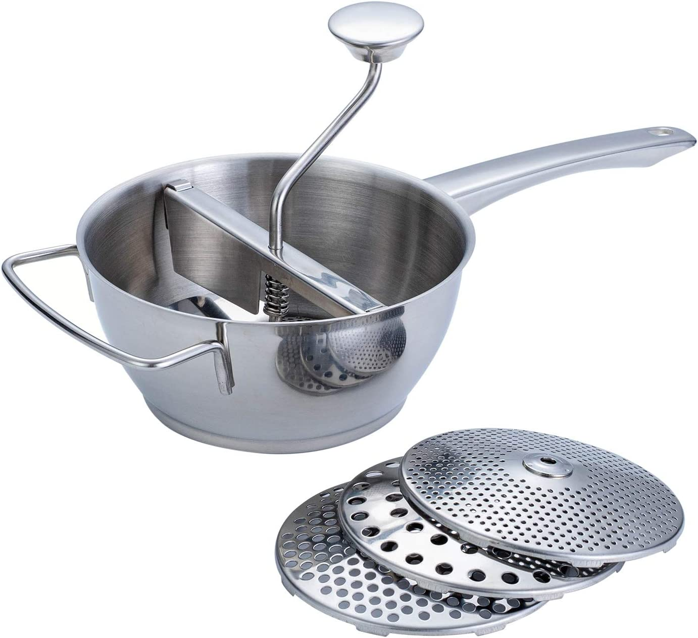ROYDOM Rotary Food Mill with 4 milling Disks, 18/10 Stainless Steel Hand Crank Manual Grinder for Vegetable Mashed Potato Tomato Applesauce Dishwasher Safe