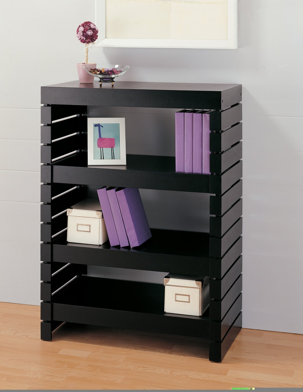 Bookcase (39654-1) 3 Tier Black Modern Bookshelves Constructed of Strong Engineered Wood Material - 32L x 17W x 43.75H in. Assembly Required