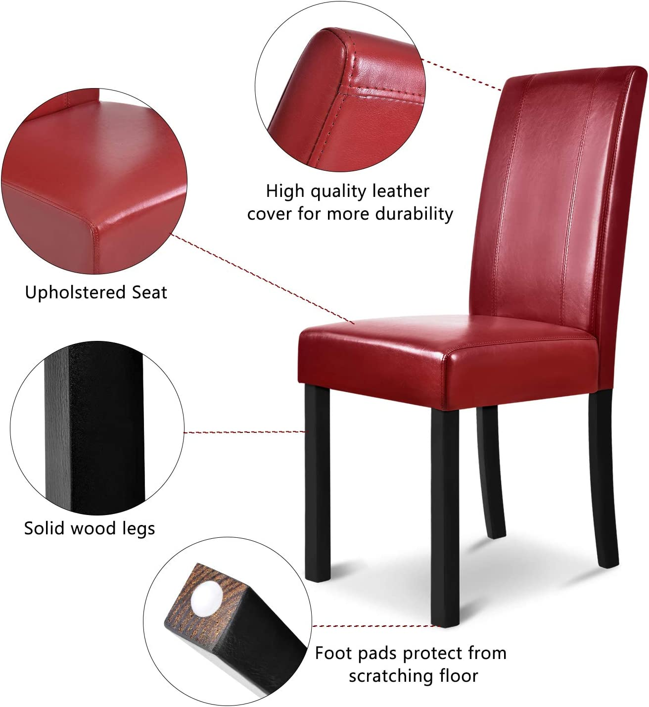 Red SEAPHY Set of 2 Faux Leather Dining Chairs High Back Chair with Solid Wooden Legs for Home /& Commercial Restaurants